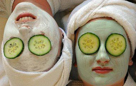 two women enjoying cucumber facials