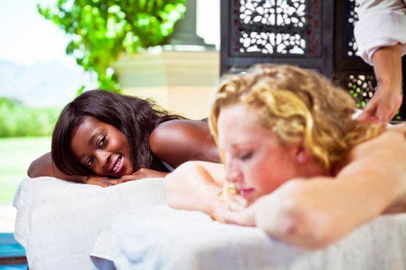 two women enjoying a massage